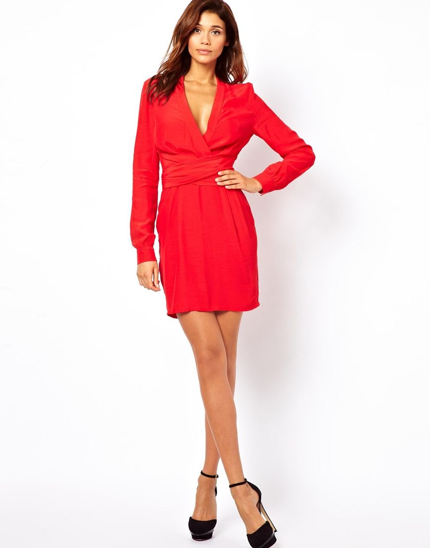 Asos Wrap Dress With Tulip Skirt And Long Sleeves in Red | Lyst ...