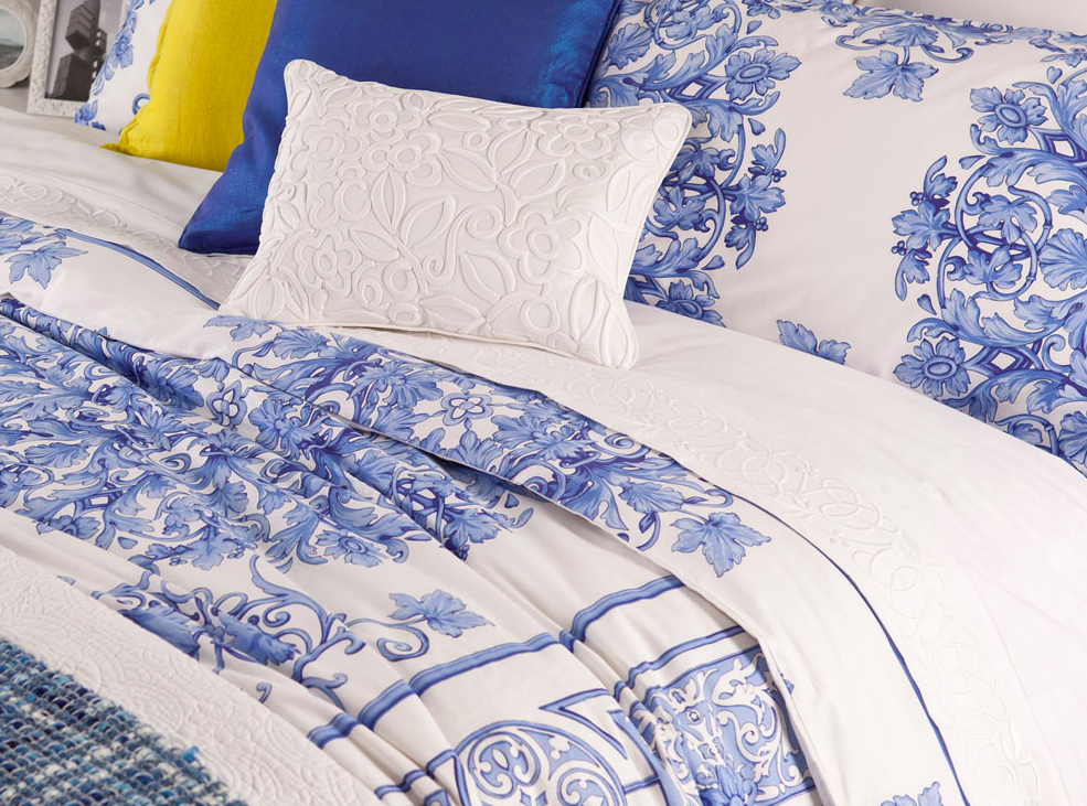 Blue And White Toile Bedroom: Beautiful Blue Floral Toile Porcelain Print French Country