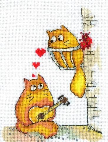 free cross stitch pattern:  kitty serenade.   Pattern found at   http://vk.com/photo-48199695_330939726   &  http://vk.com/photo-48199695_330939727