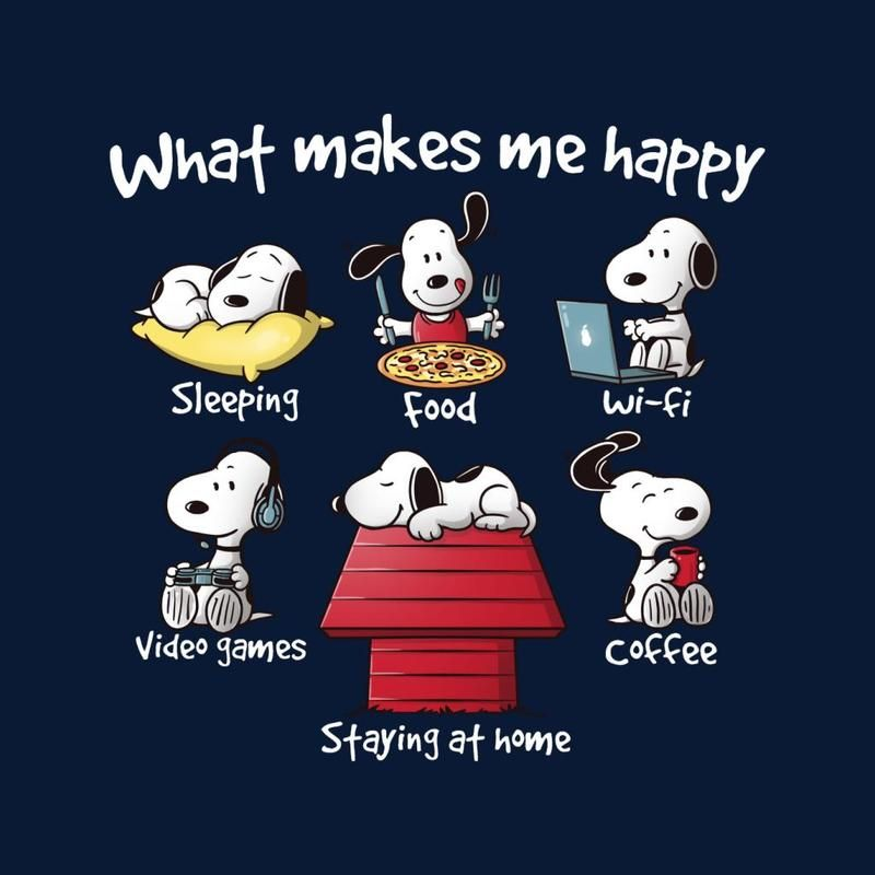 Snoopy Staying At Home Makes Me Happy Men's T-Shirt #stayathome