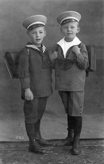 Two German boys in sailor suits on their first day at school, 1915