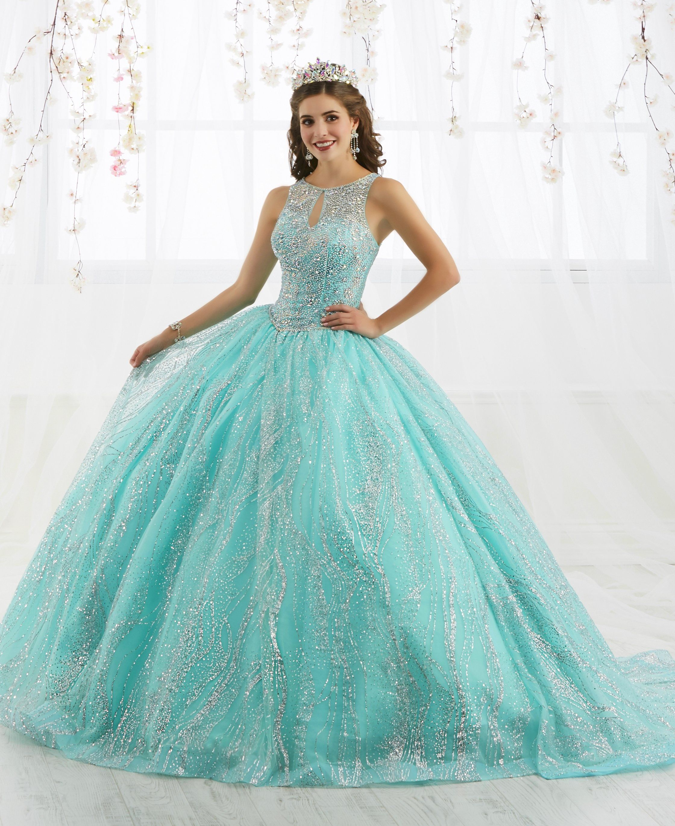 2ca6159825 Aqua Blue And Silver Quinceanera Dresses
