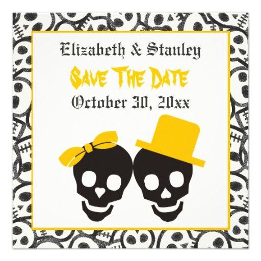 Skulls Halloween yellow wedding Save the Date Card – Halloween Wedding Save the Dates