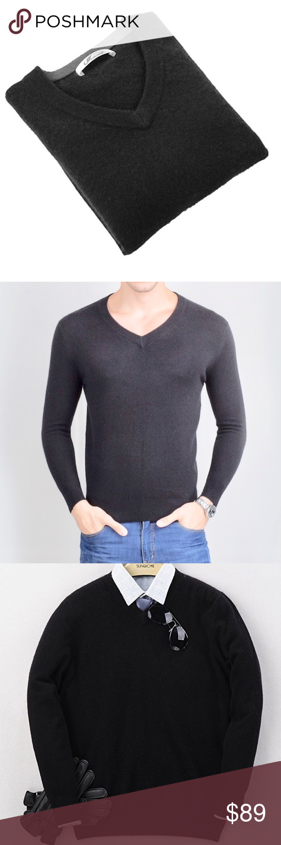 🔥Men's M Perfect Slim Fit V Neck Cashmere Sweater NWT | Cashmere ...