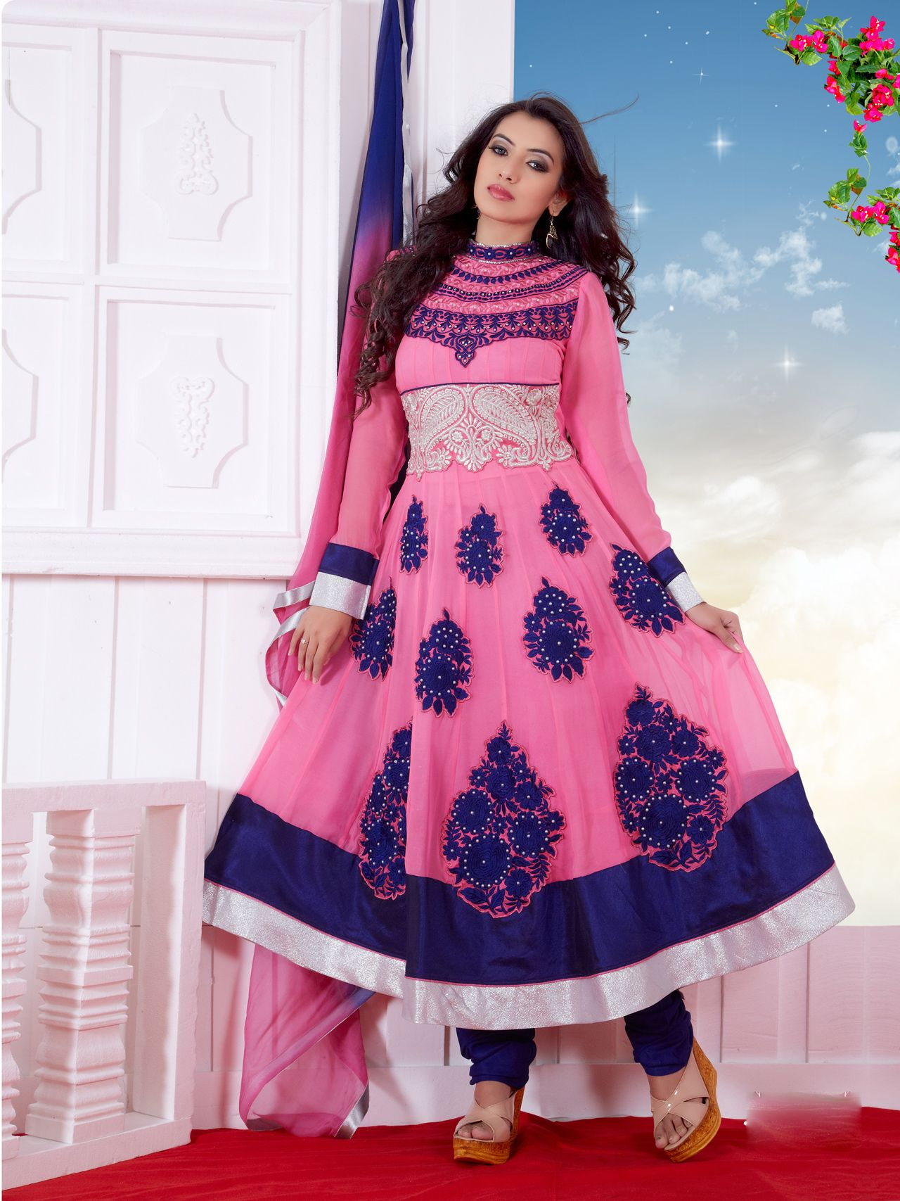 Usd pink butta work long anarkali suit long anarkali