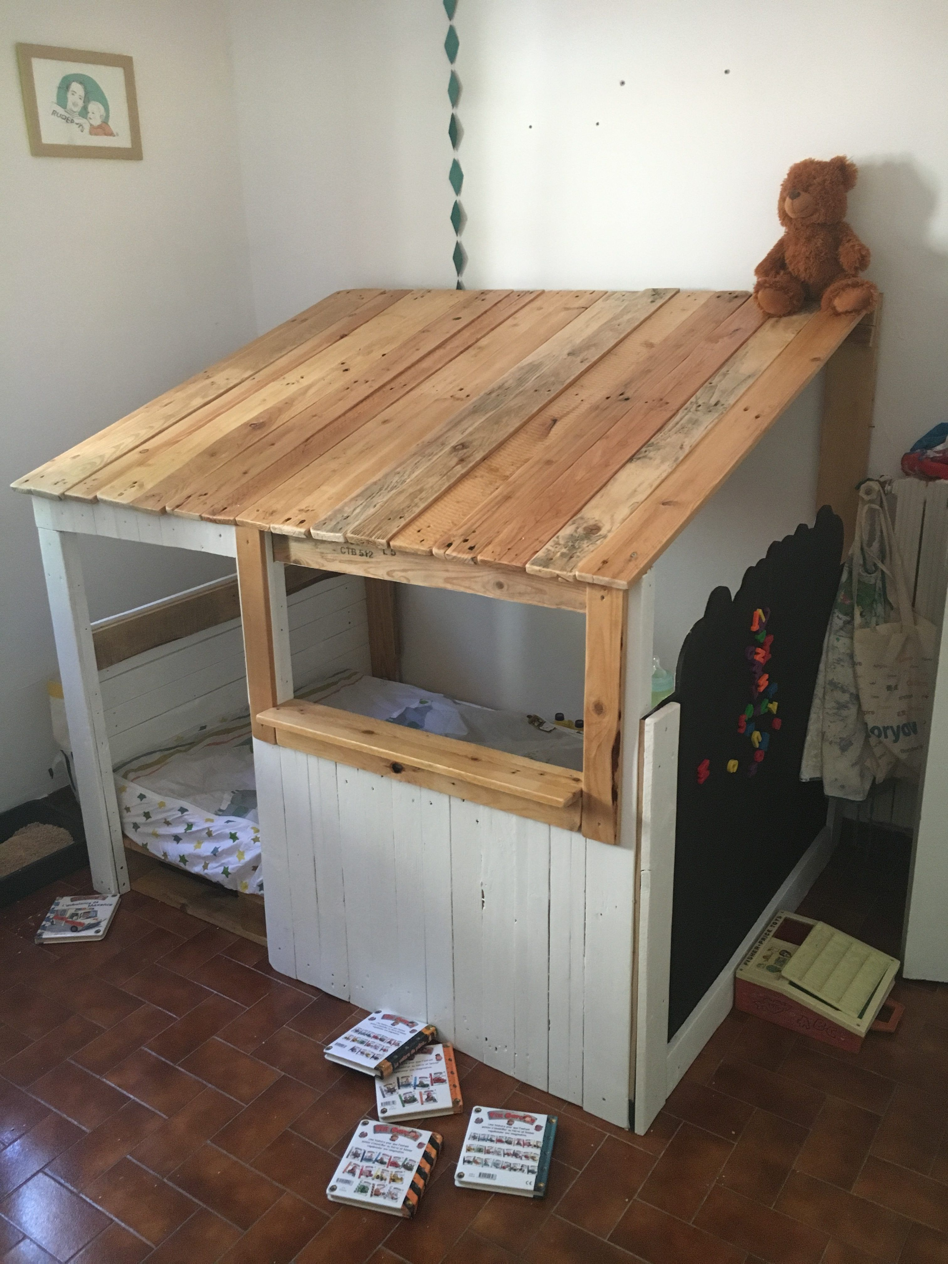 #Bedroom, #PalletKidsPlayhouse, #RecyclingWoodPallets Here's our project we made for our 3-year-old son: a Child's Pallet Cabin Bed. Most of the build was fairly easy, but the longest part was sanding and varnishing the wood.  How we built our Child's Pallet Cabin Bed: We didn't have a plan; we just