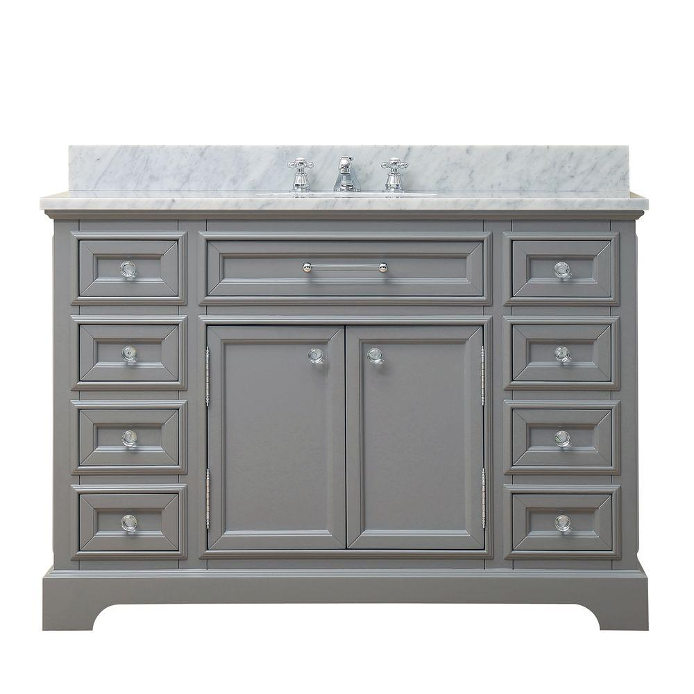 Water Creation 48 In W X 21 5 In D X 34 In H Vanity In Cashmere Grey With Marble Vanity Top In Carrara White Derby 48g The Home Depot Single Bathroom