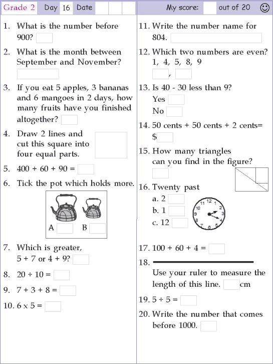 Mental Math Grade 2 Day 16 Mental Math 2nd Grade Math Worksheets 2nd Grade Math