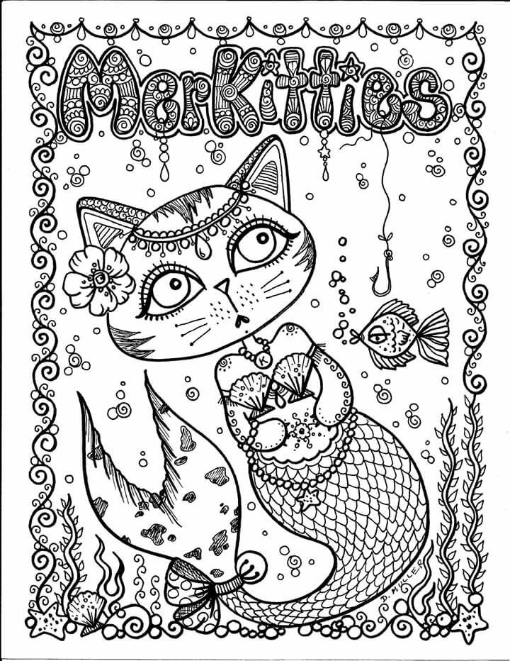 Merkitty Cat Coloring Page Coloring Books Mermaid Art