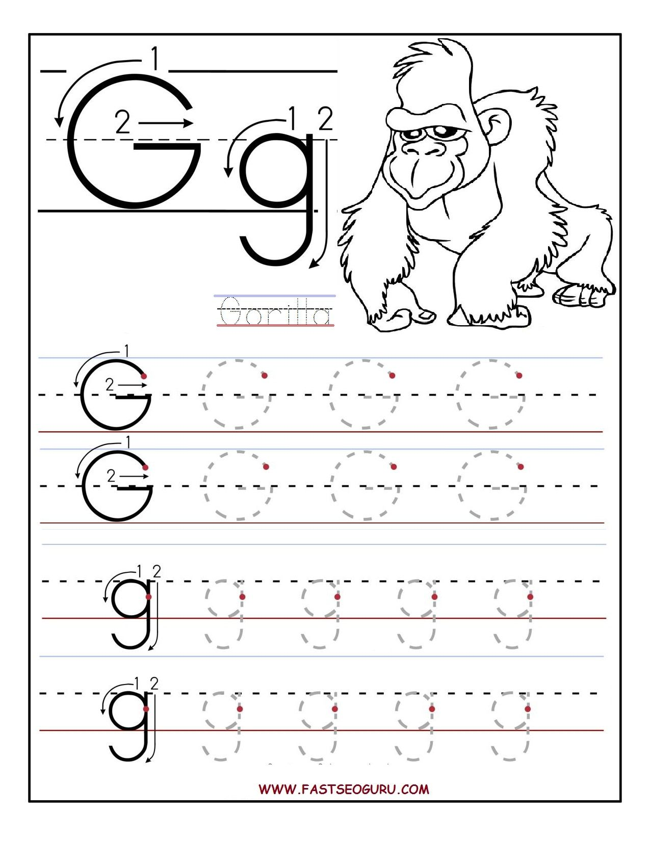 Worksheets For Preschoolers Printable Letter G Tracing Worksheets