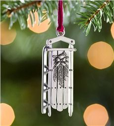 Sled Pewter Christmas Ornament