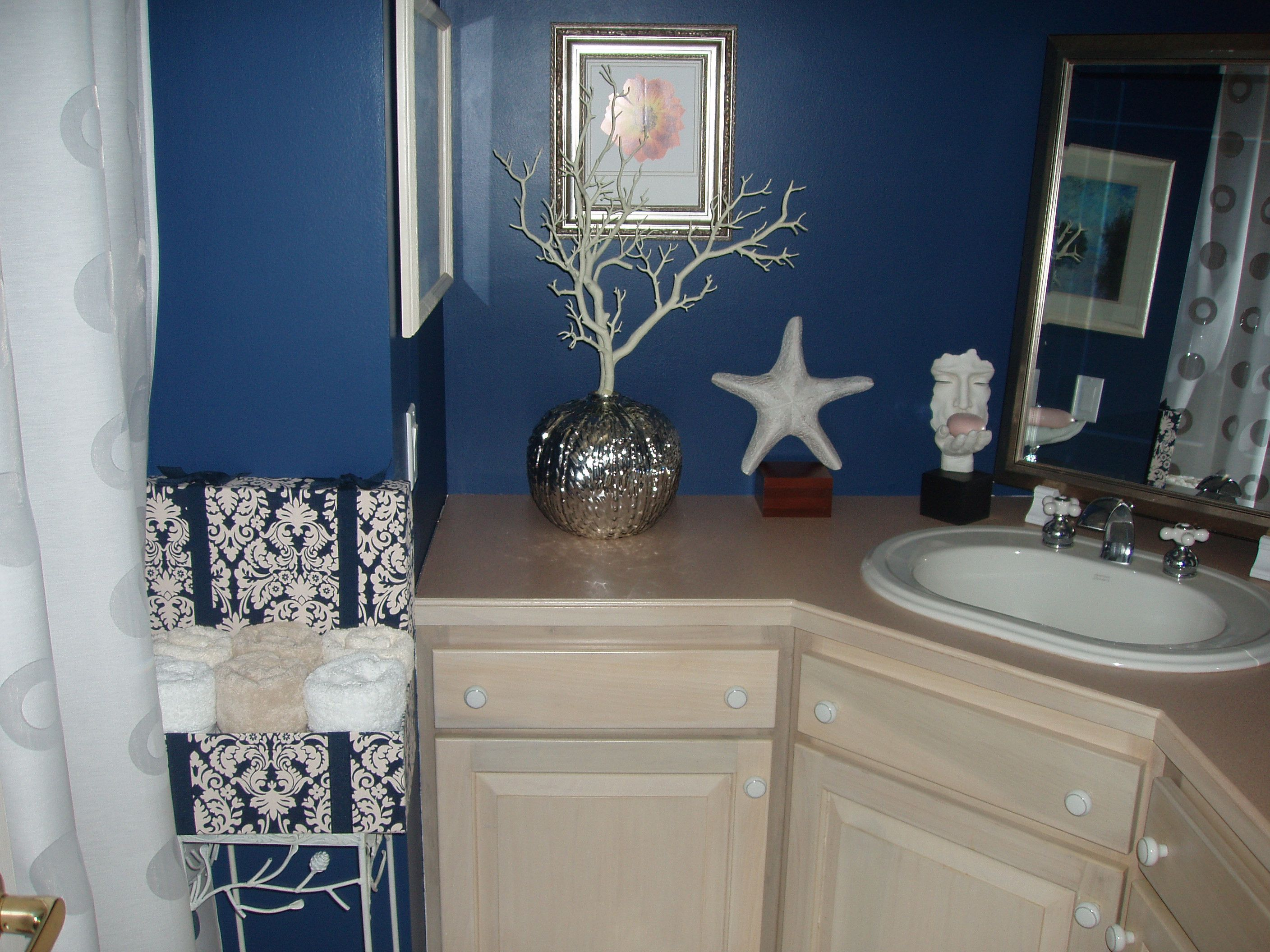 This bathroom used to be just a plain cream color. Now its navy blue ...