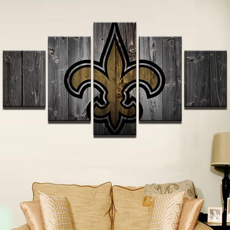 New Orleans Saints NFL Football 5 Panel Canvas Wall Art Home Decor