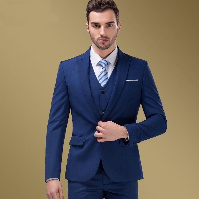 Encontrar Más Trajes Información acerca de Para hombre vestido de boda  delgado traje comercial ropa hombre trajes azul marino moda tres pedazos  fijados ... bfcef1088375