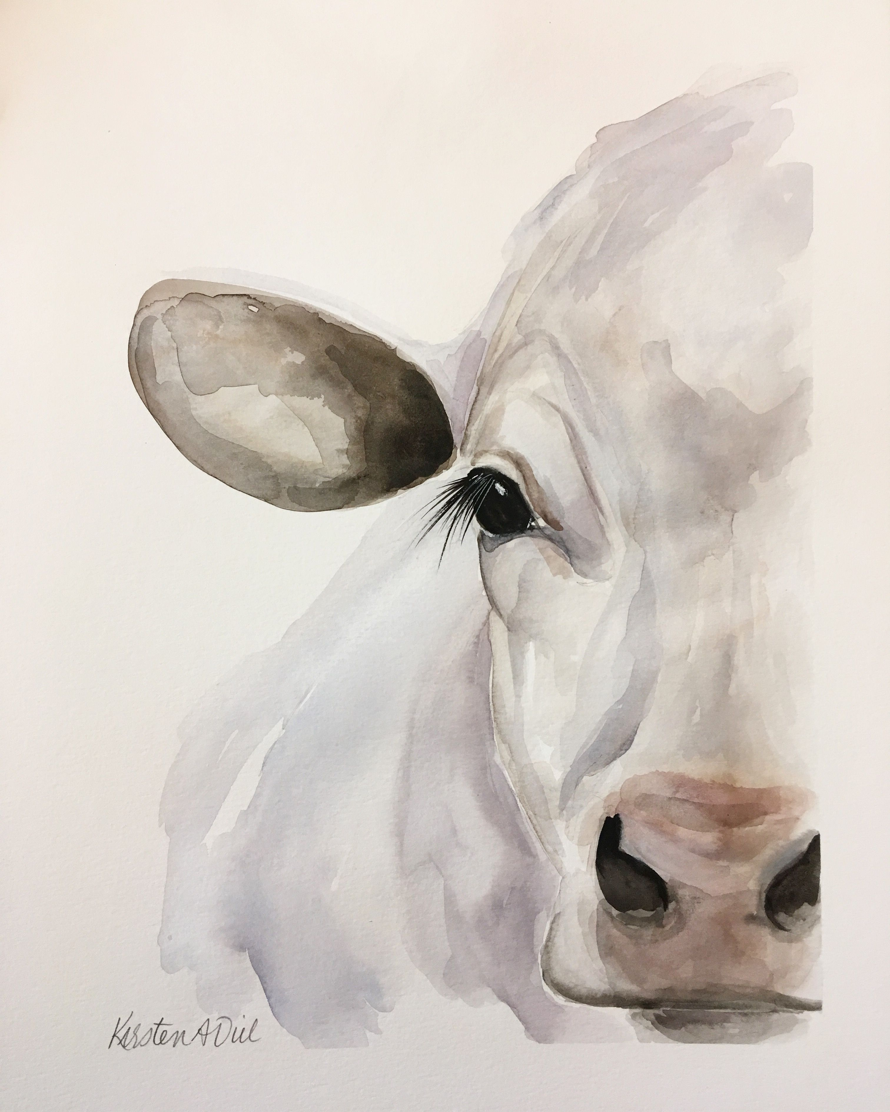 Cow Painting Kirsten Dill Watercolor Etsy Sonoranwatercolors Cow