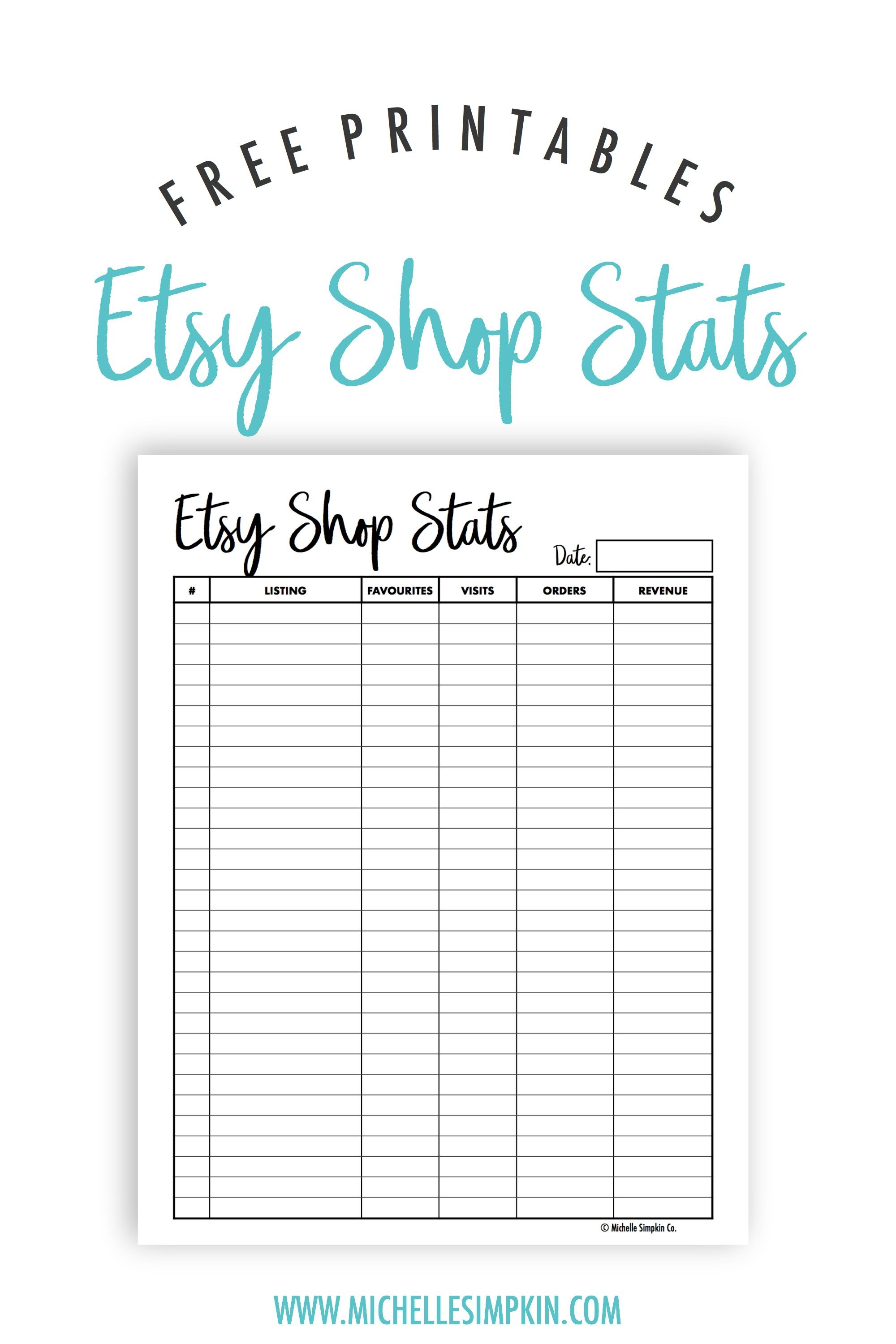 photo about Etsy Printables identified as Free of charge Printables! This Etsy Retailer Studies printable will assist