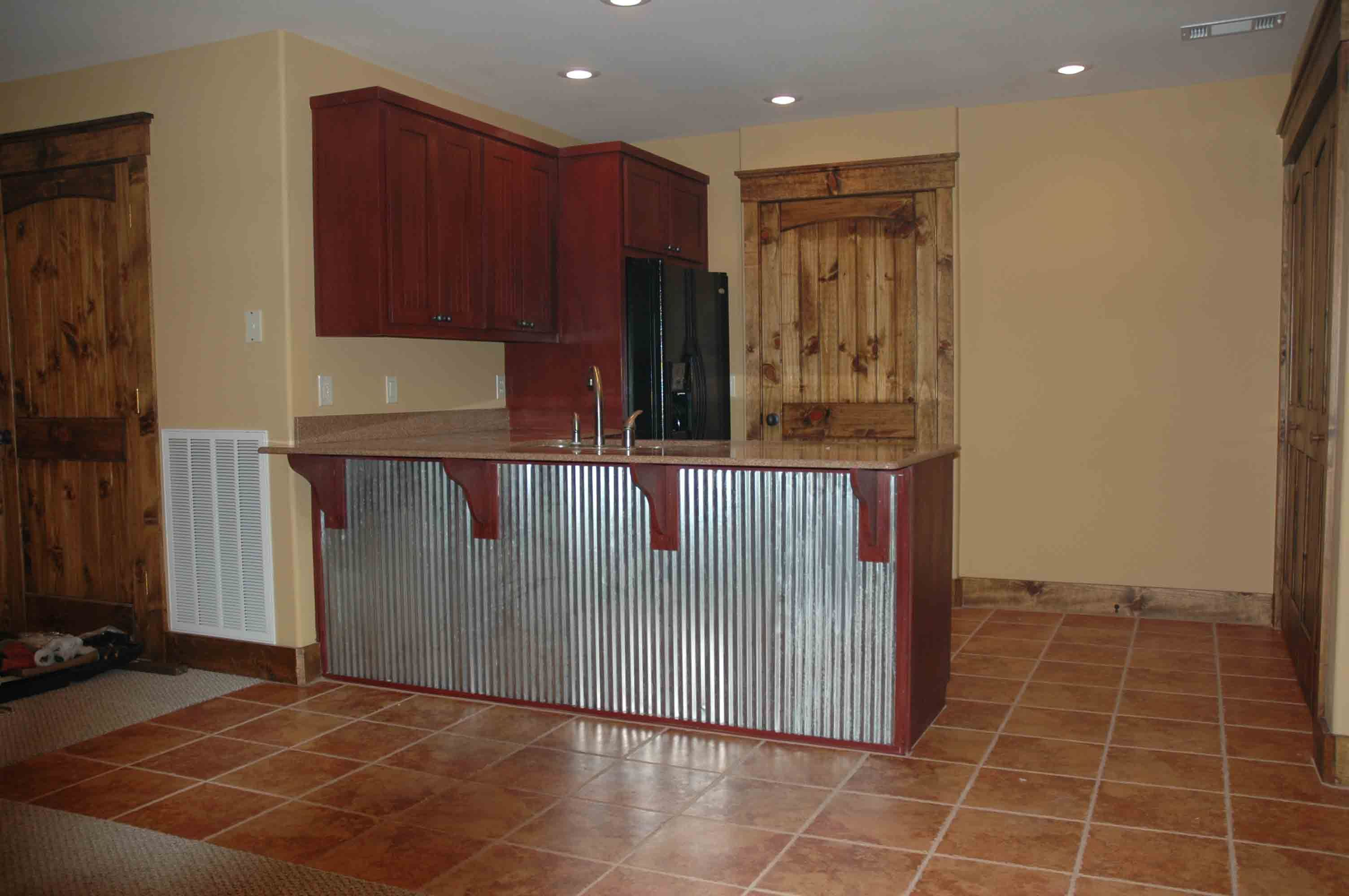 Corrugated Tin Kitchen Cabinets | This Bar Back Is Corrugated Metal.
