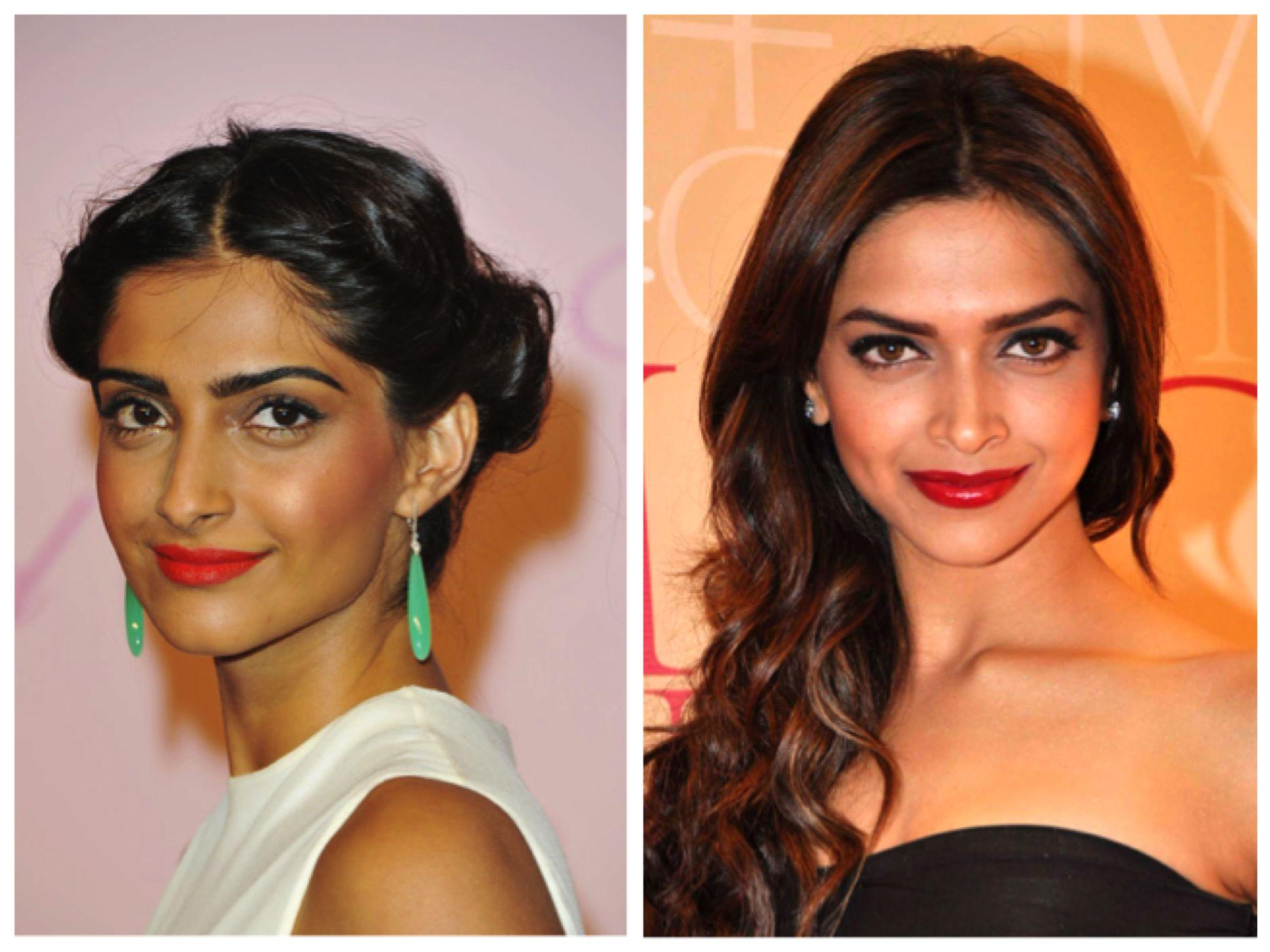 Red lips on darker skin tones Wedding makeup for brown