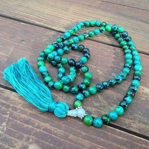 Custom Chrysocolla & Moonstone Meditation Mala by LoveLightGratitude on Etsy