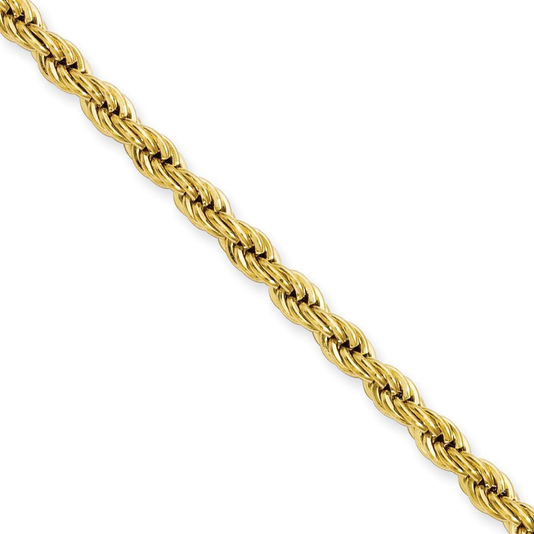 Stainless Steel Yellow IP-plated 4.0mm 22in Rope Chain SRN673GP-22