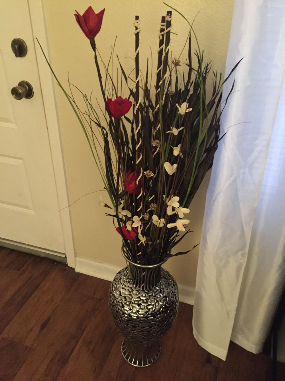 My Floor Vase The Was Purchased From Ross As Well Decorative Flowers And Bamboo Sticks I Paid About 20 For Everything