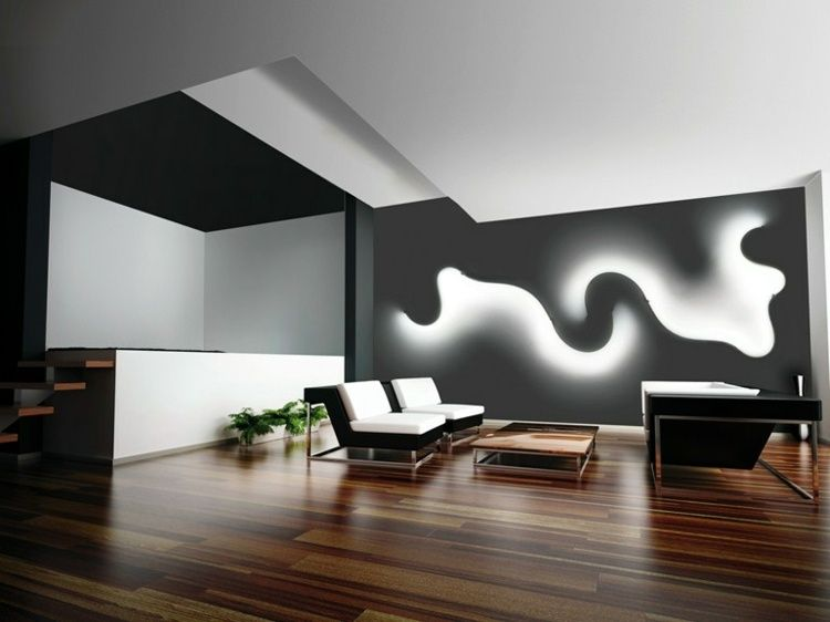 Wall design with indirect LED lighting Diseños Pinterest - küche lampen led