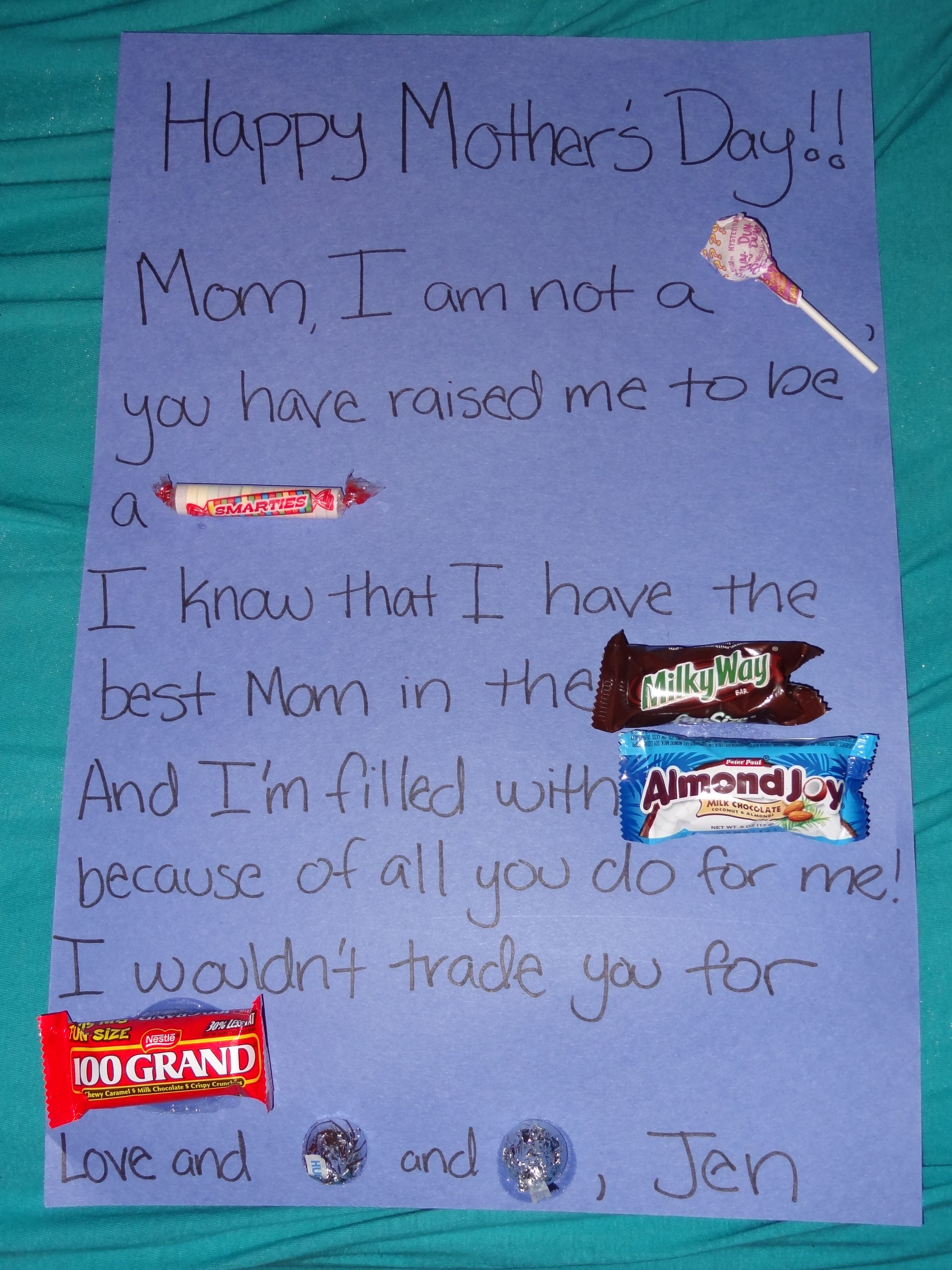 Mother's Day candy bar poem that I made up for my class ...