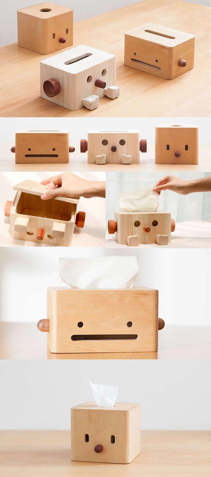 Wooden Bamboo Robot Tissue Box Office Desk Stationery Organizer