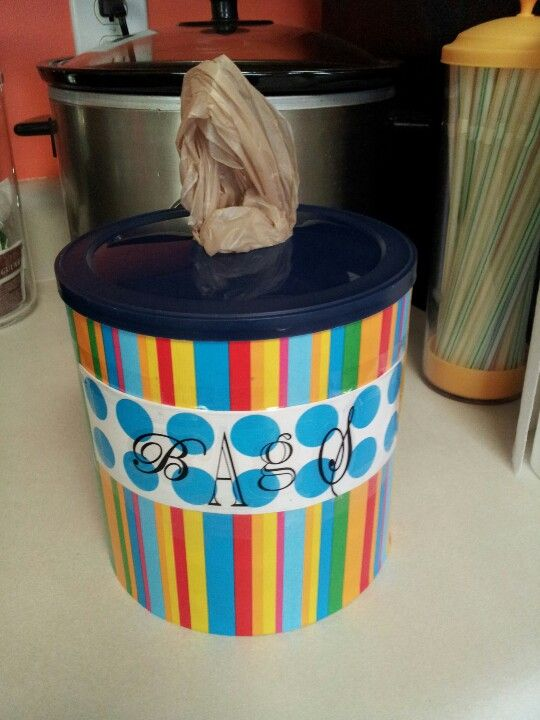 Turn An Empty Coffee Can Into A Storage For Plastic Bags Reuse Recycle Plasticbags