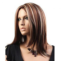 Medium Center Parting Highlighted Straight Bob Synthetic Wig - COLORMIX
