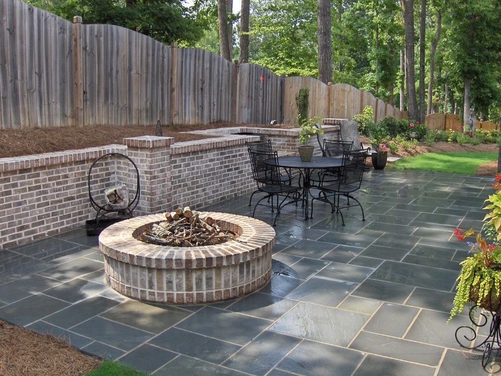 Stone Fire Pit Designs Traditional Patio With Atlanta