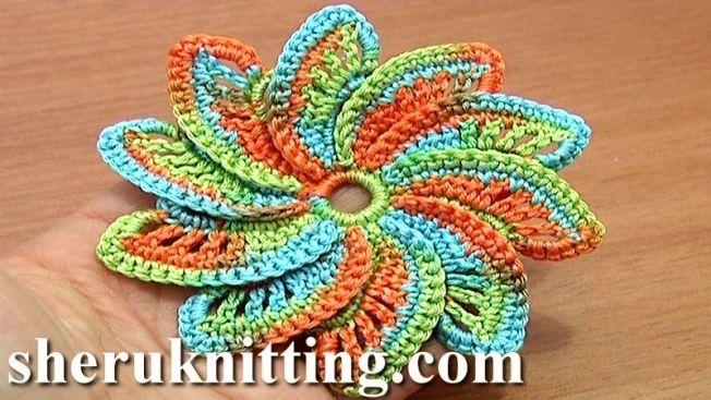 Crochet Spiral Flower Tutorial 55 | Flowers, Leaves & Fruit ...
