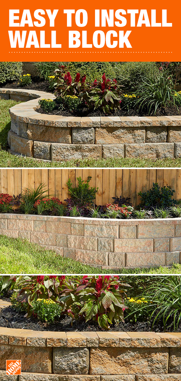 Retaining Wall Bricks Home Depot : retaining, bricks, depot, Pavestone's, RockWall, System, Configured, Variety, Create, Seven, Di…, Backyard, Landscaping,, Front, Landscaping, Design