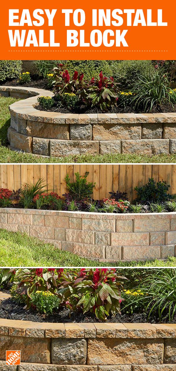 Retaining Wall Bricks Home Depot : retaining, bricks, depot, Pavestone's, RockWall, System, Configured, Variety, Create, Seven, Di…, Backyard, Landscaping,, Front, Landscaping, Design