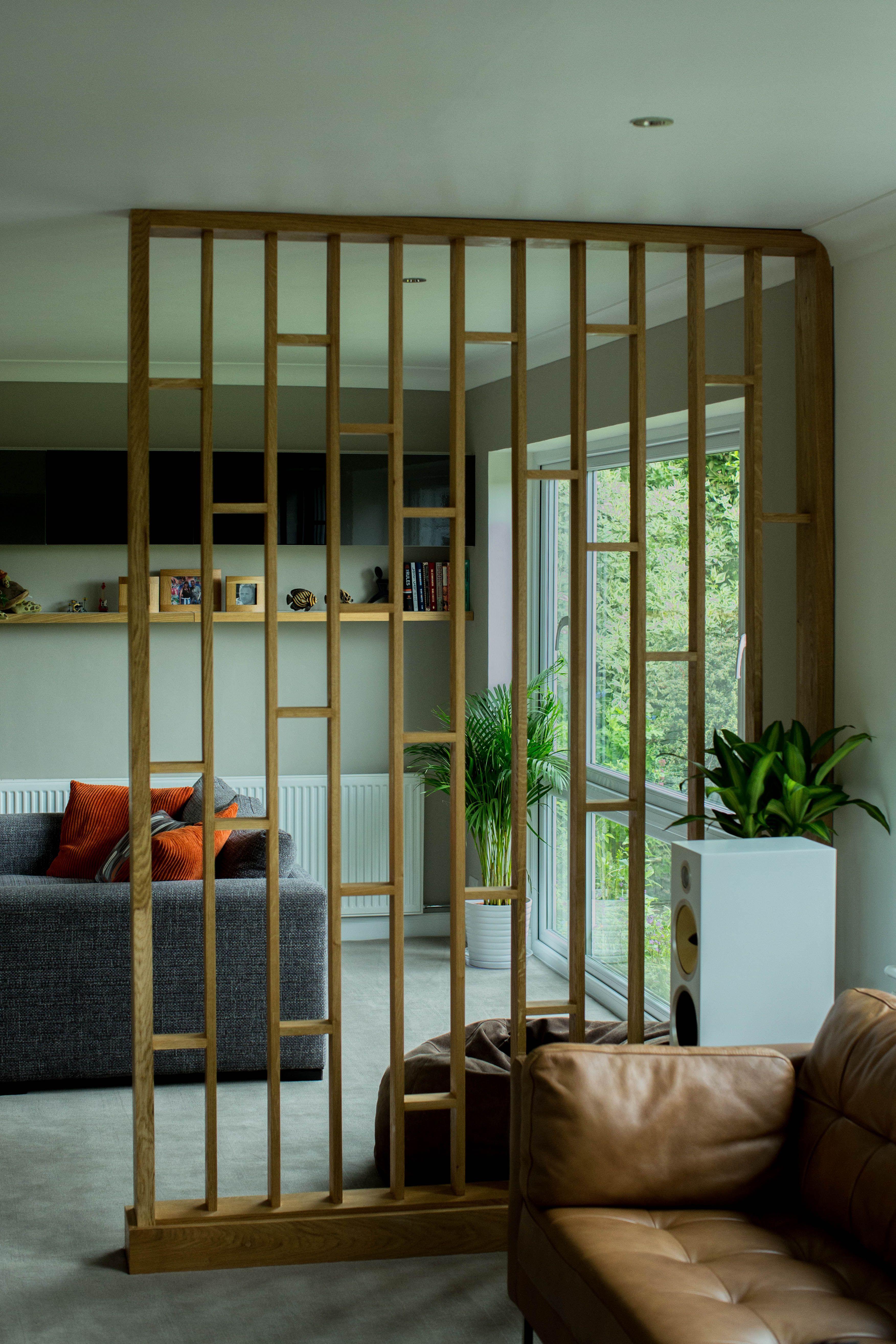 Oak Room Divider made to match oak glazed internal doors, Waterhall Joinery Ltd
