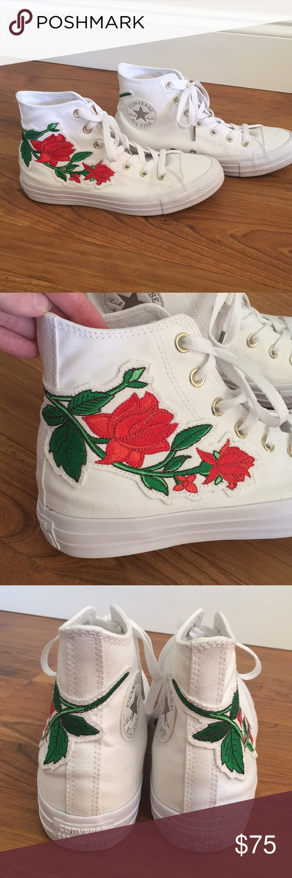8bb9d77717fd Spotted while shopping on Poshmark  New Converse Embroidered Rose Hi Top  Sneaker!  poshmark  fashion  shopping  style  Converse  Shoes