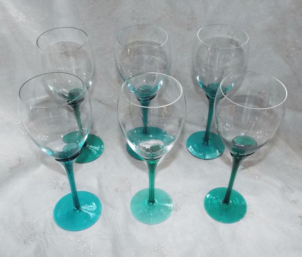 TEAL WINE GLASSES, Clear Glass Teal Stem & Base, Set of 6, 9.5\