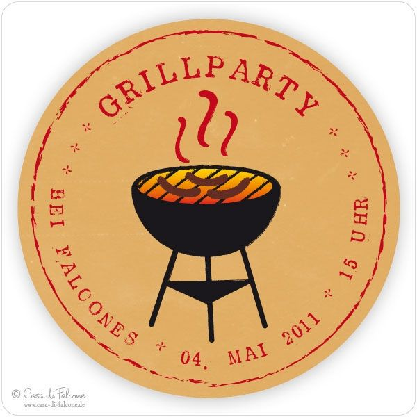 Aufkleber Grillparty Party Pinterest