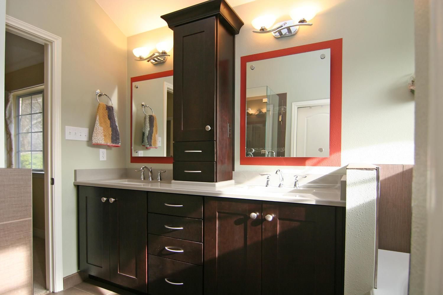 His And Her Sinks With Linen Tower Bathroom Cabinetry Small Bathroom Cabinets White Bathroom Cabinets