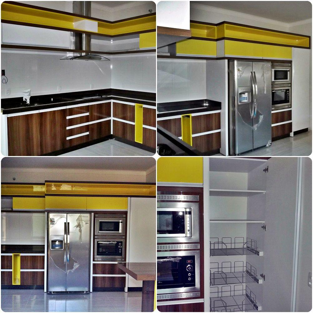Cozinha Planejada Em Mdf Amarelo Branco E Larnaca Brilhante Da