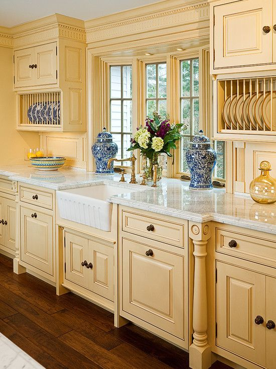 Combines Clean Lines With Dental Mold Apron Sink And Plate Racks Love The Different Depths Of Country Kitchen Designs Country Kitchen French Country Kitchen