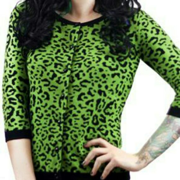 NWT Sourpuss green leopard crash cardigan Small Awesome green ...