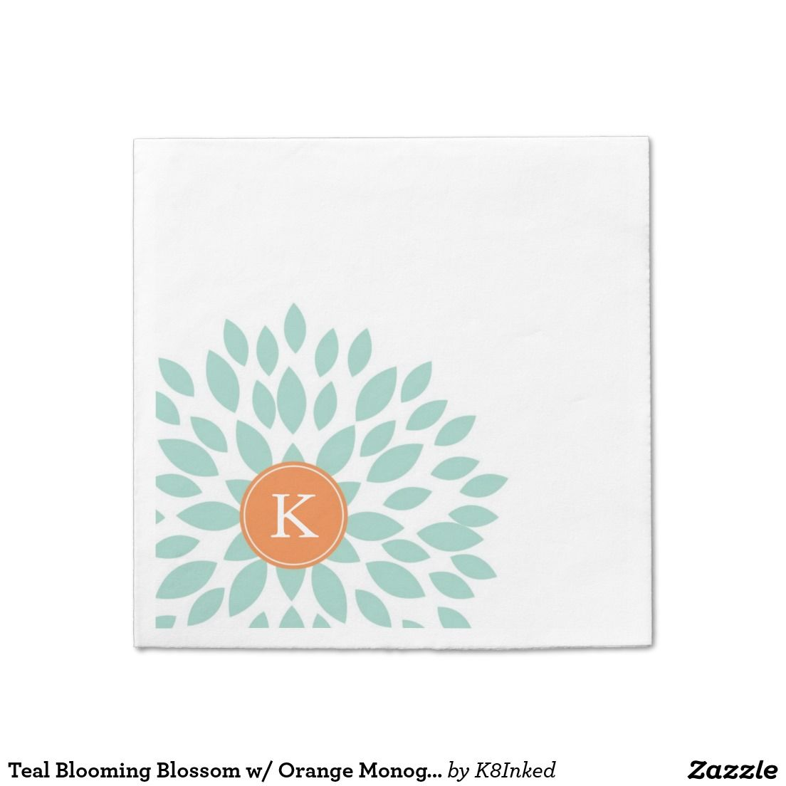 Teal Blooming Blossom w/ Orange Monogram Initial - Personalized Custom Standard Cocktail Napkin - http://www.zazzle.com/k8inked*  #partysupplies