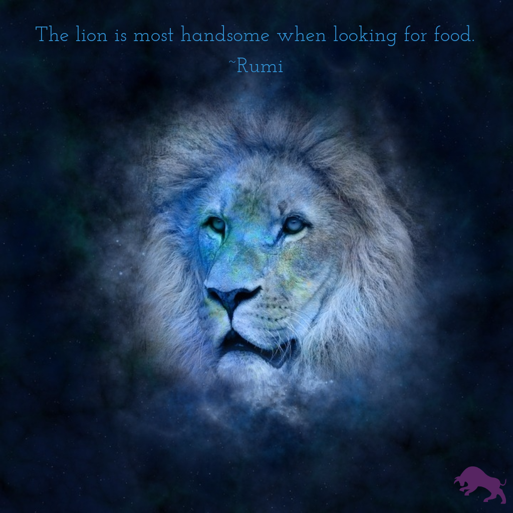 The lion is most handsome when looking for food. ~Rumi
