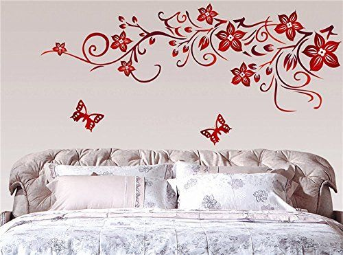 Be Good Waterproof Wall Sticker Decal Mural With Butterflies And Red Flowers Very Beautiful Wal Modern Wall Stickers Beautiful Wall Decor Wall Stickers Bedroom