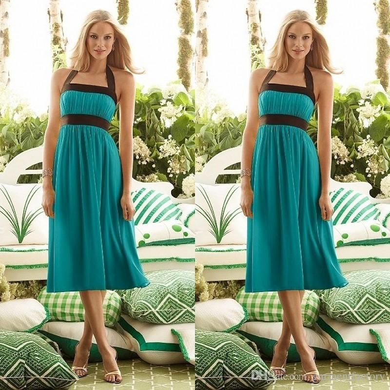 Modest Teal Turquoise Bridesmaid Dresses 2016 Cheap High