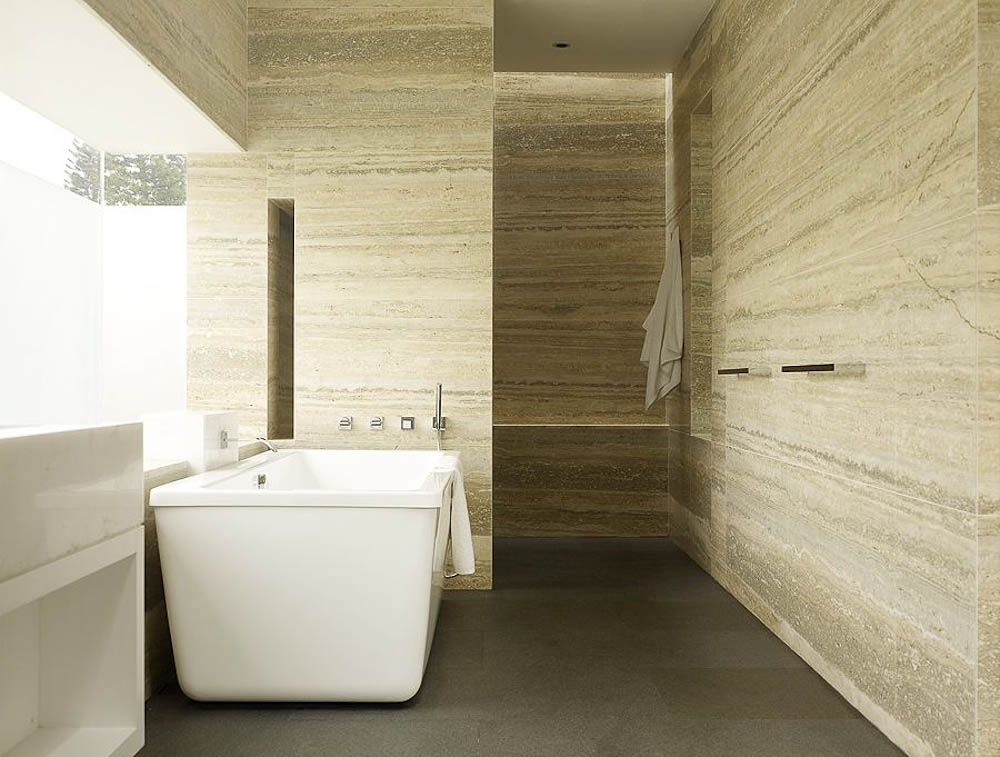 Bagno in travertino silver zebrato pietre di rapolano flooring