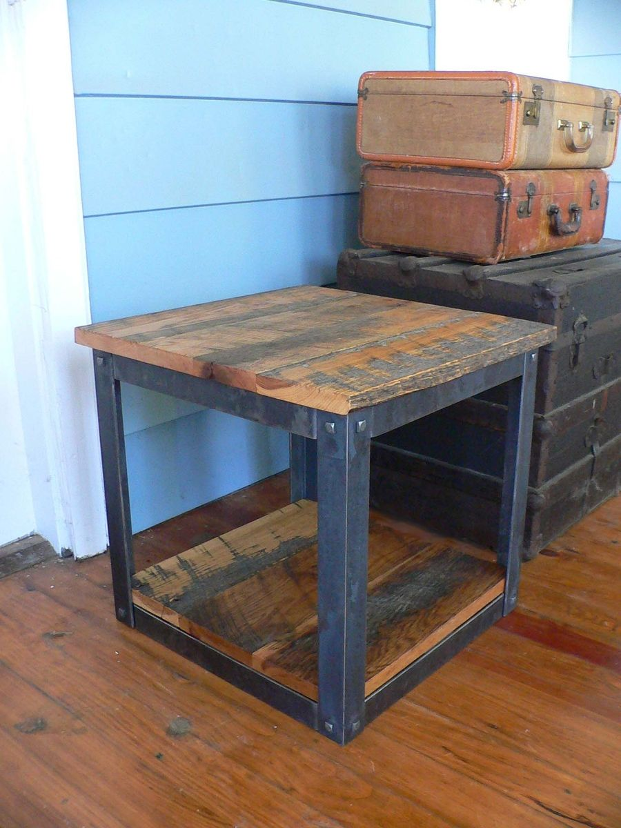 Hand Crafted Rustic Barn Wood End Table Todd Could Make This For