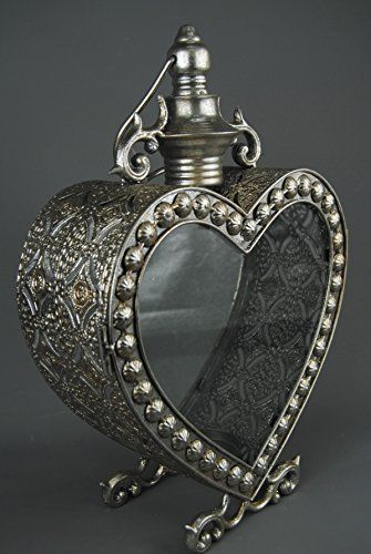 Large Heart Shaped Marrakech Arabic Style Pewter Steel Silver Candle Lantern