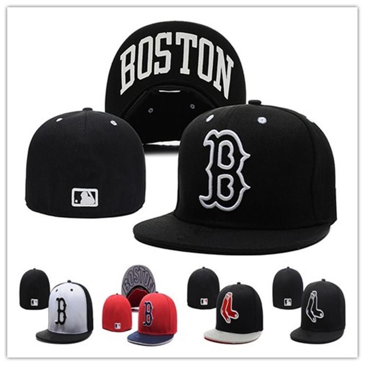 25273a3f373677 Cheap Red Sox Fitted Caps B Letter Baseball Cap Embroidered Team B Letter  Size Flat Brim